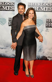 Susan Downey went for a minimalist-chic look with an ombre strapless dress at the premiere of 'Sherlock Holmes.'
