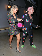 Sofia Richie accessorized with a cute Les Petits Joueurs Micro Alex Bunny bag for a night out at Crossroads restaurant.