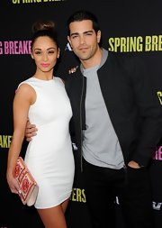 Jesse Metcalfe opted for a sleek zip-up jacket for a more streamline look at the 'Spring Breakers' premiere.