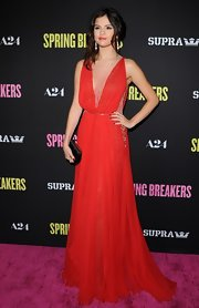 Selena Gomez chose a flowing red gown with intricate beading on the neckline for her red carpet look at 'Spring Breakers.'