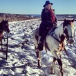 Heidi Klum Goes Horseback Riding in the Snow