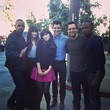 Zooey Deschanel Poses With the Cast in a Cordoruy Skirt