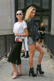 Elsa Hosk gave her tee an elegant boost with a black lace pencil skirt.