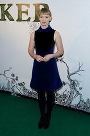 Mia looked like a doll in this royal blue velvet-clad dress with a prim collar.