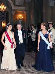 Crown Princess Victoria showed a lot of style and a hint of sexiness with her nude halter gown.