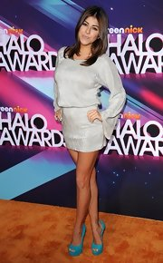Daniella Monet stepped out at the TeenNick HALO Awards in a tunic-style mini dress and a pair of blue peep-toe platforms.