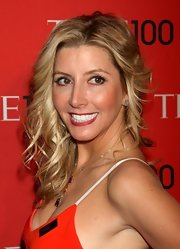 Sara Blakely chose a deep red lip to top off her red carpet look.