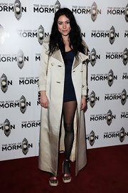 Eliza Doolittle played with hem lengths when she paired this ankle-length, satin trench with a navy blue mini dress.