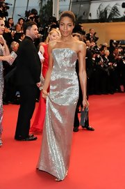 Naomie Harris sparkled in a silver strapless gown, which she wore to the Cannes Opening ceremony.