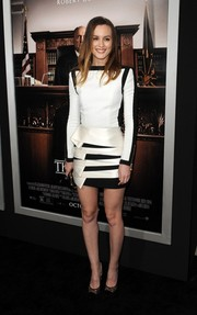 Leighton Meester went the ultra-modern route at the premiere of 'The Judge' in a black-and-white Balmain mini boasting architectural detailing on the skirt.
