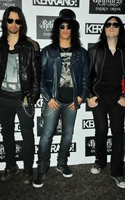 In true rock star form, Slash attended the Kerrang! Awards garbed in leather and denim.