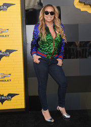 Mariah Carey teamed her jacket with sexy skinny jeans.