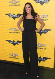 Rosario Dawson kept it breezy in a strapless black jumpsuit with a layered bodice at the premiere of 'The Lego Batman Movie.'