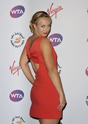 Sabine Lisicki's braided updo was an on trend way to pull back her hair.