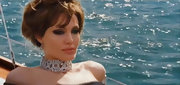 Angelina dons a thick woven diamond choker necklace for filming of 'The Tourist.'