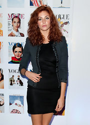 Tamsin Egerton made a simple LBD so stylish by topping it with a tweed blazer at Vogue Festival 2012.
