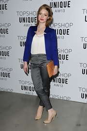 Holliday Grainger opted for a jacquard cigarette skinny pant for the Topshop Unique show in London.