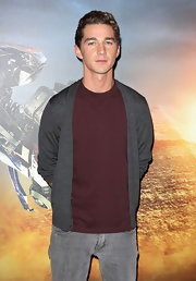 Shia LaBeouf was low-key in a gray cardigan layered over a maroon tee at the 'Transformers' photocall.