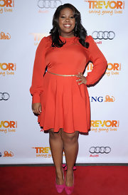 Amber Riley was a vision in color on the red carpet. The curvy starlet accessorized her ensemble with bright suede platform pumps complete with bow accents.