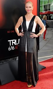Lauren sported this white strapless dress with a black sheer overlay to the season 6 premiere of 'True Blood.'