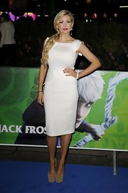 Nicola McLean opted for sky-high pumps to match her fitted white dress at the 'Rise of the Guardians' premiere.
