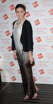 Olivia Palermo chose a pair of patterned pumps for the Valentino: Master of Couture exhibit in London.