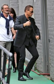 Jean-Claude Van Damme wore an all-black ensemble while promoting 'The Expendables 2.'