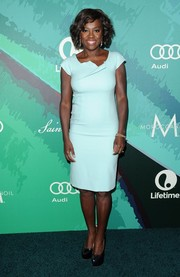 Viola Davis was minimalist-chic at the Variety Power of Women event in a pastel-blue Escada sheath featuring origami detailing along the neckline.