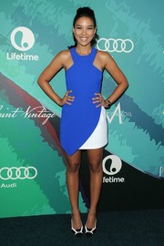 Alexandra Shipp went the ultra-modern route in a cobalt and white racer-neckline mini dress by Ministry of Style at the Variety Power of Women event.