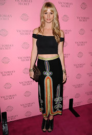 Cameron Richardson teamed her bohemian skirt with black gladiator heels at the Victoria's Secret 2011 launch.