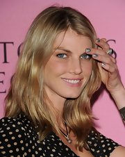 Angela Lindvall swept on shimmery silver polish for the Victoria's Secret What Is Sexy? party.