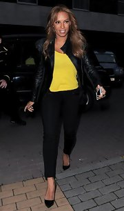 Scary Spice is no longer scary! Melanie Brown chose classic skinny pants for the Viva Forever! Cocktail Launch.