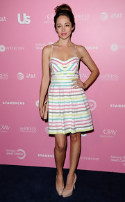 Autumn Reeser went super cutesy at the Hot Hollywood event in this candy striped spring dress.
