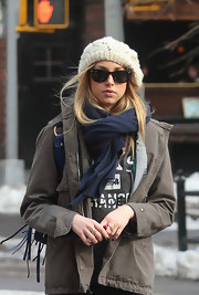 """The City"" reality star and budding designer Whitney Port went for a stroll in West Village New York wearing a pair of cool black Ray-bans."