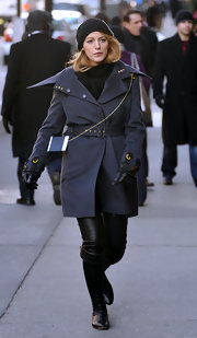Blake lively surely looks like she's on a mission and she looks ever so chic in these leather knee high boots.