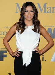 Eva Longoria sported red mani for a bit of color to her monochrome outfit at the Crystal + Lucy Awards.
