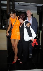 Sharon Osbourne exited Dorchester Hotel carrying a large tote.