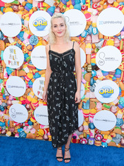 Leighton Meester paired her cute frock with strappy black heels by Brian Atwood.