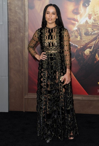 Zoe Kravitz Sheer Dress [mad max: fury road,dress,fashion model,flooring,fashion,gown,formal wear,carpet,girl,fashion design,haute couture,celebrities,fashion,red carpet,model,los angeles,tcl chinese theatre,hollywood,california,premiere,zo\u00eb kravitz,rosie huntington-whiteley,mad max: fury road,mad max,graumans chinese theatre,premiere,actor,red carpet,model]