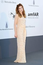 Nicola Roberts stunned in a nude column-style beaded gown.