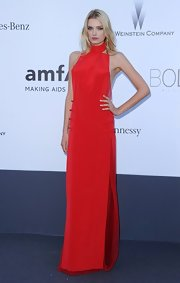Lily Donaldson opted for maximum impact when she wore this bold red gown to the amFAR Cinema Against AIDS Gala.