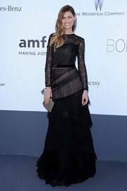 There was nothing simple about Bianca Balti's black tiered tulle and chiffon gown.