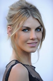 Angela Lindvall kept her look simple and stunning with this messy pinned updo.