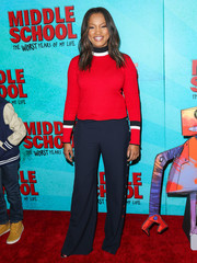 Garcelle Beauvais completed her outfit with a pair of nautical-chic pants.