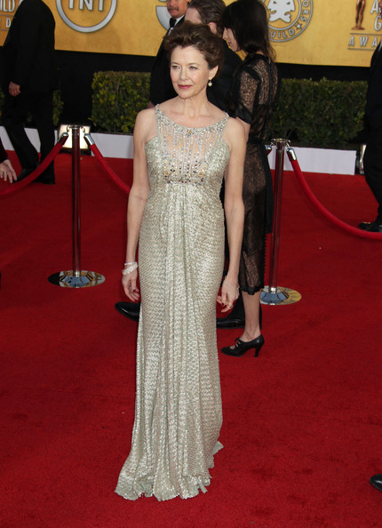 Annette looked like red carpet royalty in a silver shimmering evening gown.