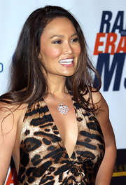 Tia Carrere sweetened up her look with a heart pendant necklace at the Race to Erase MS event.