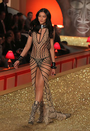 Liu Wen showed off sheer lingerie during the 2010 runway show for Victoria's Secret.