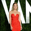 Fringed Red Versace for the Vanity Fair Oscars Party
