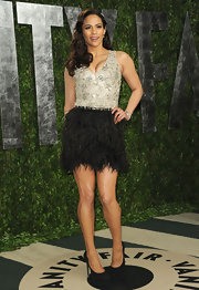 Paula Patton looked flirty in feathers for the Vanity Fair Oscar party.