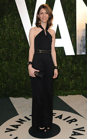 Sofia Coppola wore this black belted column dress to the Vanity Fair Oscar party.